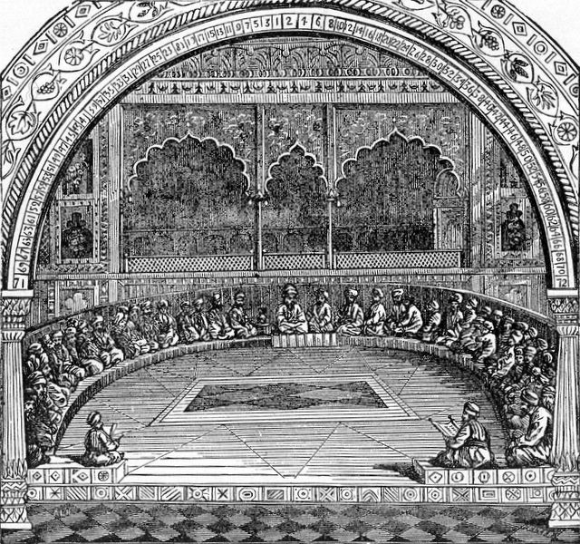 Ancient Jewish Sanhedrin council depicted in People's Encyclopedia of Universal Knowledge (1883). WikiCommons