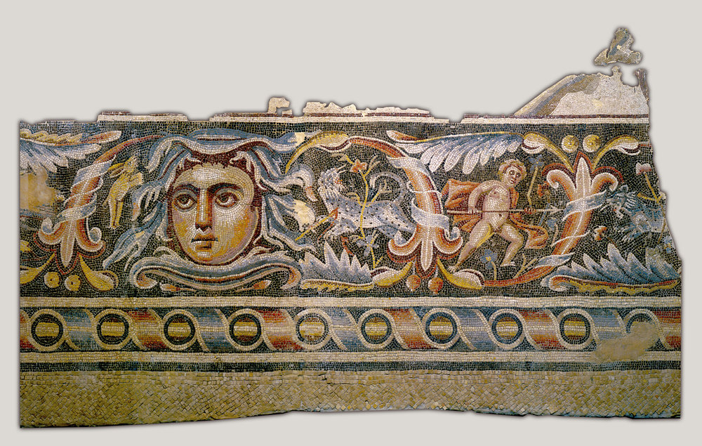 Detail of a mosaic floor from a Roman villa's triclinium (By Unknown - WQFyelyRWDC0tg at Google Cultural Institute)