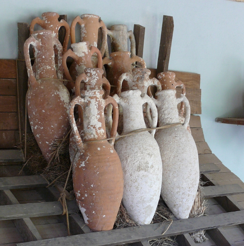 Row of Amphorae ( Ad Meskens, Bodrum Castle Turkey )