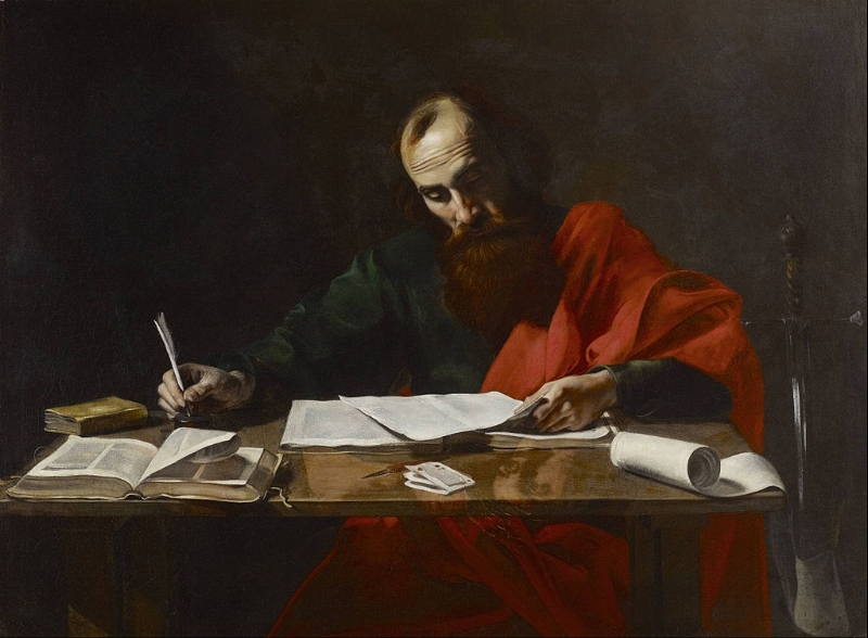 Paul Writing His Letters attributed to Valentin de Boulogne [Public domain], via Wikimedia Commons