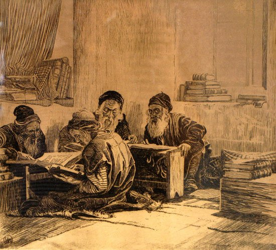 Ephraim Moses Lilien, The Talmud Students, 1915, etching, link.