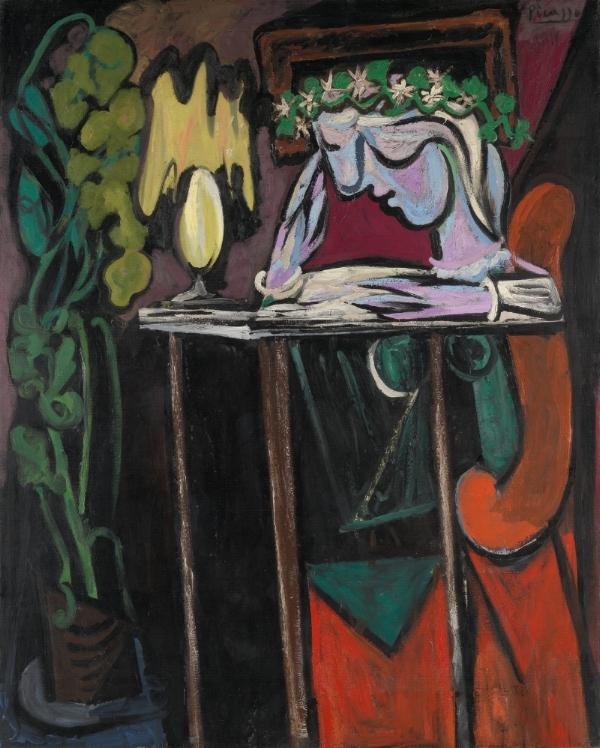 Reading at a Table , Pablo Picasso, 1934, oil on canvas (image: http://www.metmuseum.org/toah/works-of-art/1996.403.1/)