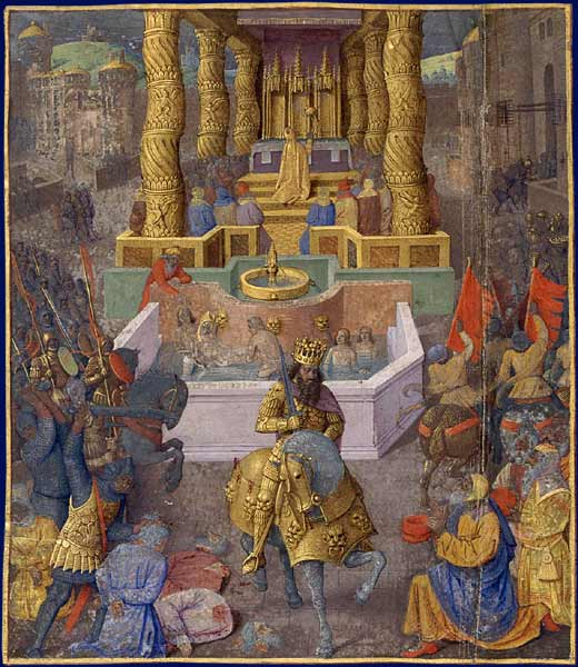 Herod the Great entering Jerusalem. Flavius Josephus, The Judaic Antiquities, Illumination by Jean Fouquet, circa 1470-1475. Paris, BnF,  Department of Manuscripts, NAF 21013, fol. 1V . (Book XV)