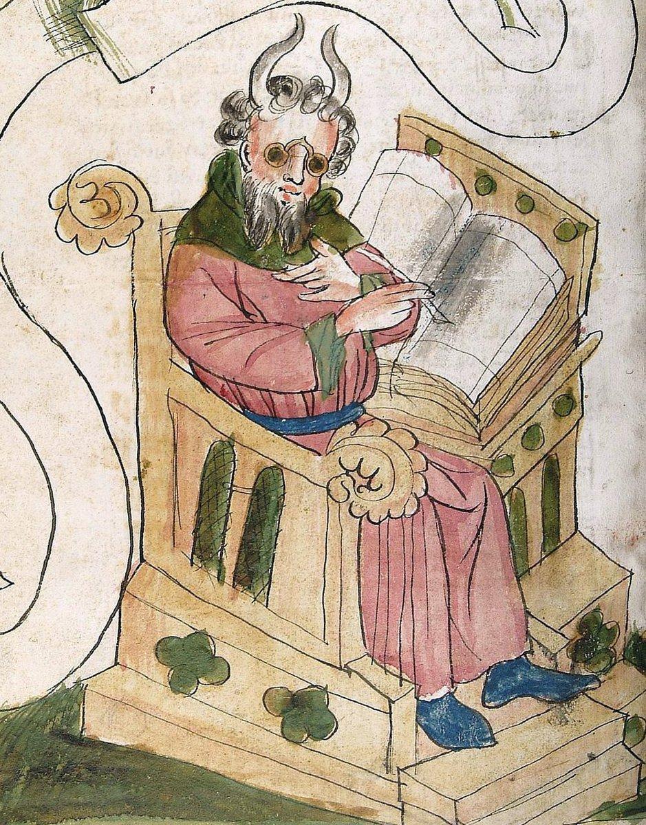 Moses in the scriptorium  |  Bible, Hagenau ca. 1441-1449 (Universitätsbibliothek Heidelberg, Cod. Pal. Germ. 19, fol. 141v)