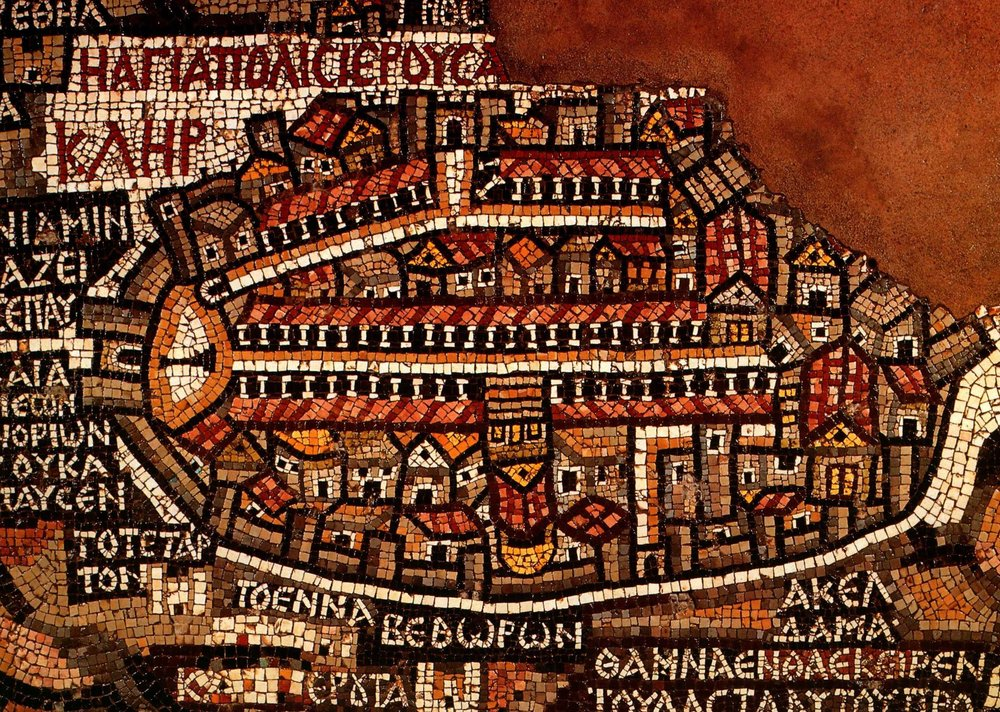 Jerusalem, from the Madaba Map |  Plate from Piccirillo and Alliata (ed.), The Madaba Map Centenary, 1897-1997: Travelling through the Byzantine Umayyad Period (1999)