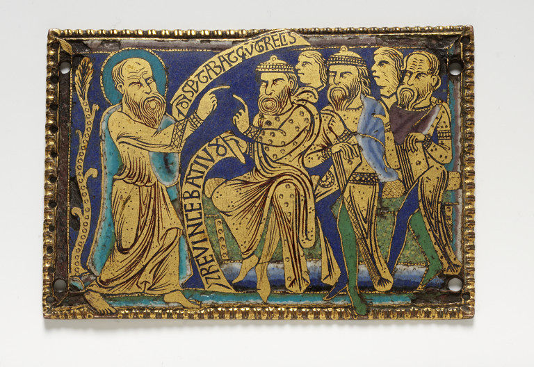 St. Paul disputing with the Jews and the Greeks | Enamel gilding, copper plaque, made in England ca. 1170-80 (probable) | London, Victoria and Albert Museum 223-1874