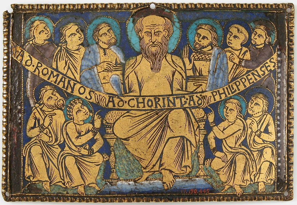 Enamel plaque, St Paul and his Disciples | English(?), ca. 1160-80 |  On display  in the Metropolitan Museum of Art, New York