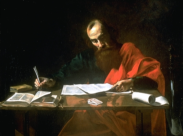 Saint Paul Writing his Epistles by Valentin de Boulogne (ca. 1618 - 1620) Wikimedia Commons