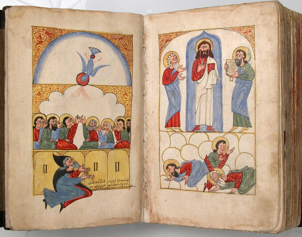 Armenian Illustrations of Pentecost (f.2r, left) and the Transfiguration (f.3v, right) | Four Gospels in Armenian, 1434/35 |  No. 2010.108  on display at the Met, New York