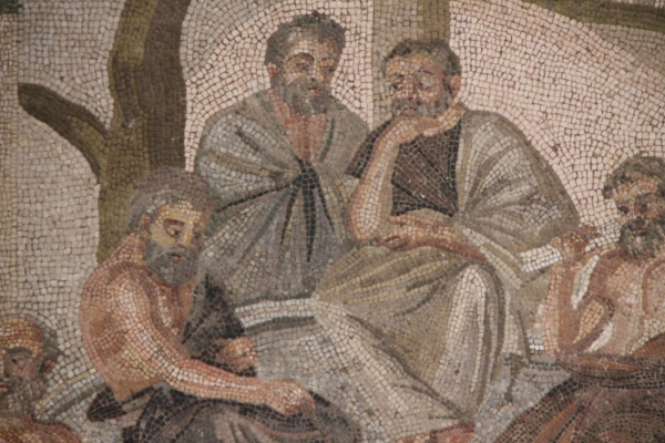 Detail of mosaic depicting a group of philosophers, possibly the Seven Sages or Plato's Academy, from the Villa of T. Siminius Stephanus at Pompeii, now in the Museo Archeologico Nazionale, Naples, first century BCE/CE (photo: Arthur P. Urbano)