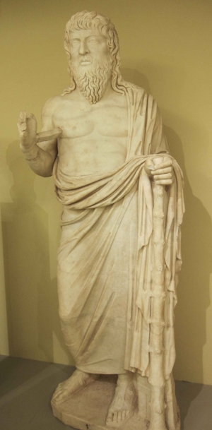 Marble portrait statue of a philosopher from Gortyn (Crete), now in the Heraklion Archaeological Museum, second century CE (photo: Arthur P. Urbano)