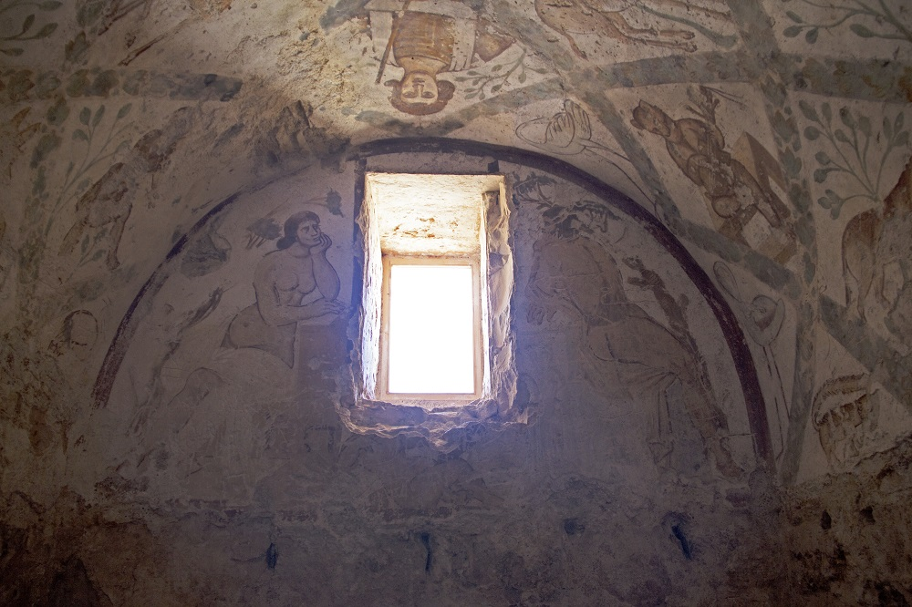 Qusayr 'Amra bathhouse frescoes | Jordan, built ca.723-743 by Walid Ibn Yazid | Image Source