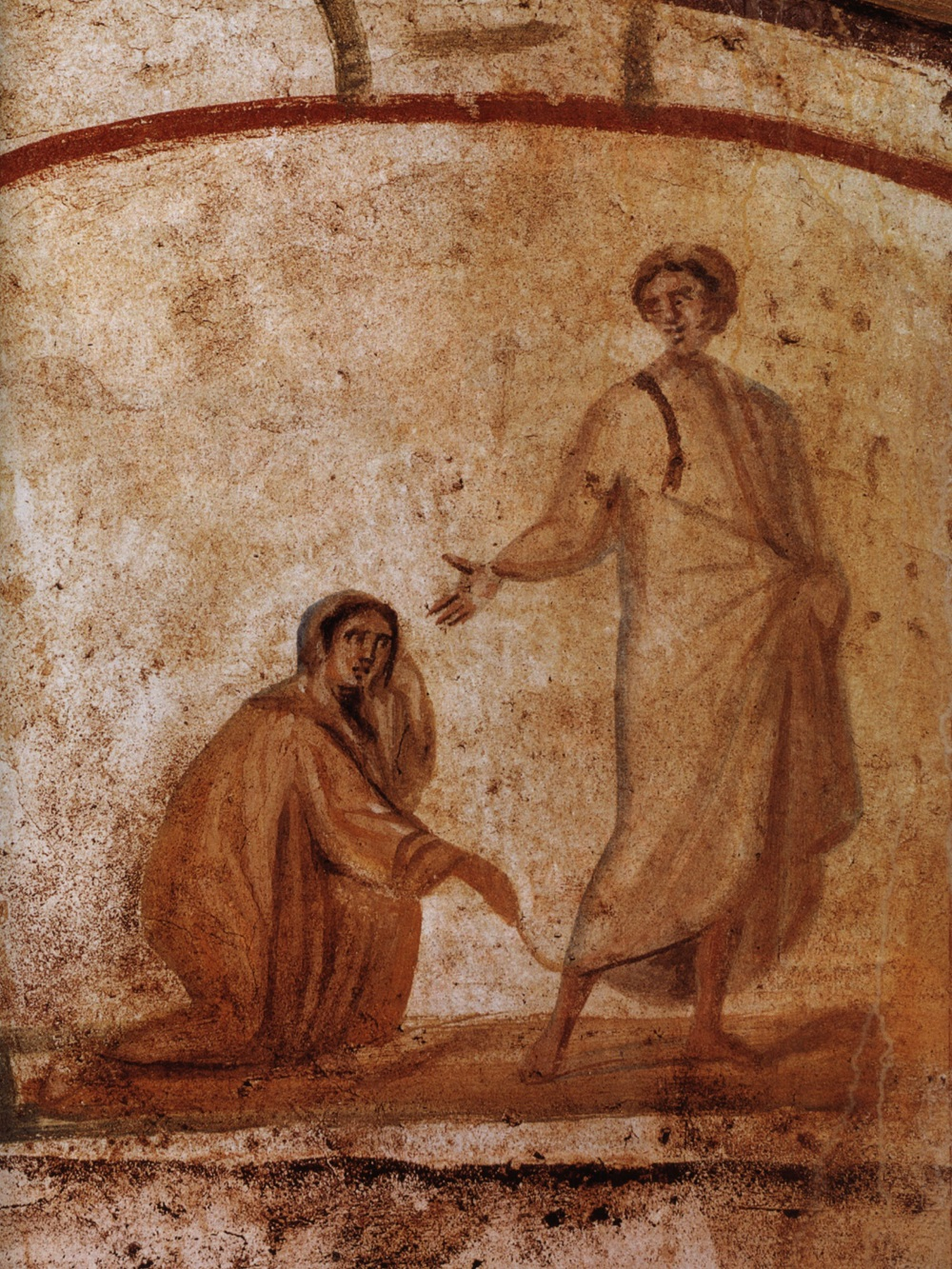 Painting of the healing of a woman with internal bleeding | Fourth-century, Catacombs of Marcellinus and Peter, Rome |  Image source