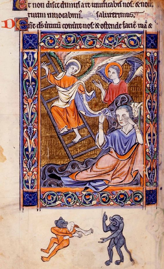 Rutland Psalter. Jacob's dream. 13th century British Library Additional 62925, image 744