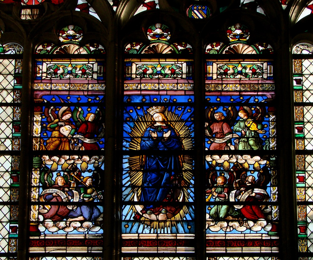 The Virgin at the Apocalypse | Troyes Cathedral, window built 1524 | Image source