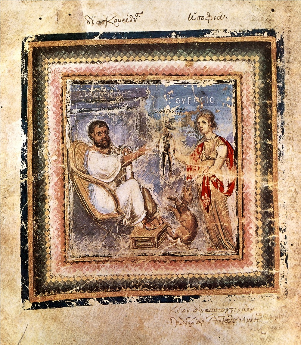 Portrait of Dioskurides (the author) and Heuresis from C6 medical miscellany | Vienna Dioscurides (ca. 512CE), f. 4v | Image source