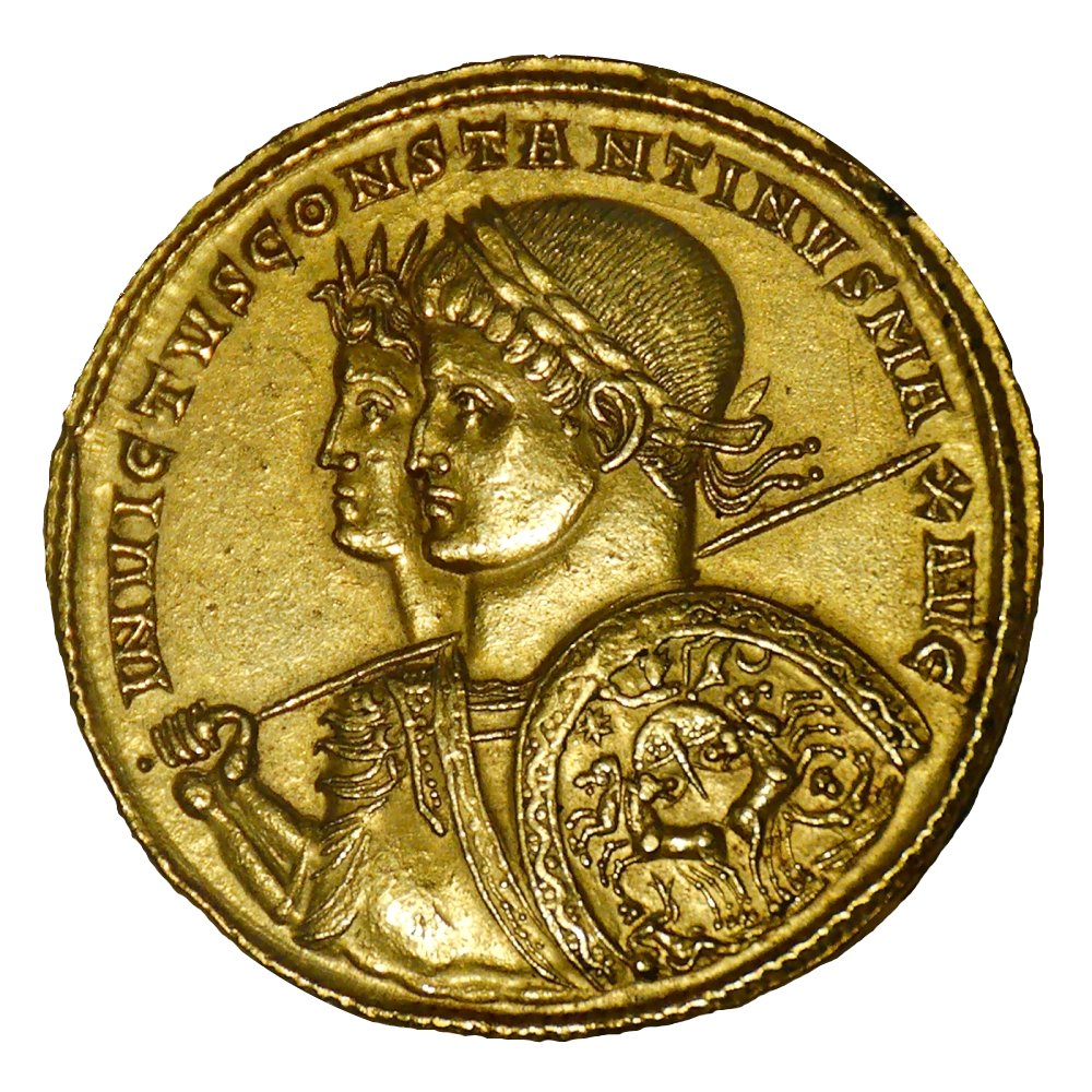 Busts of Sol Invictus and Constantine I | Gold solidus minted in Ticinum in 313CE to commemorate victory at the Milvian Bridge |  Image source
