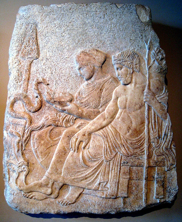 Marble relief of Asclepius and his daughter Hygieia. From Therme, Greece, end of the 5th century BC. Istanbul Archaeological Museums. (Wikimedia Commons)