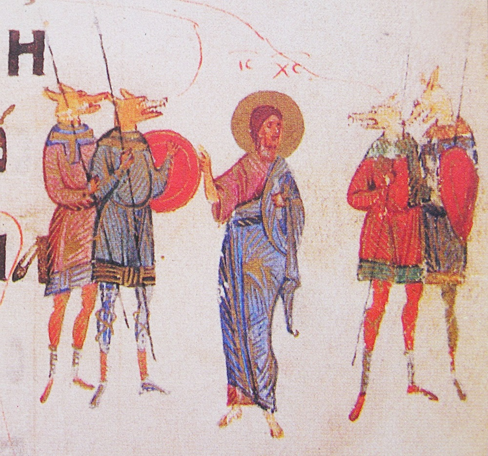 Christ preaches to the Cynocephali | From the Kievan Psalter (1397) | Image source