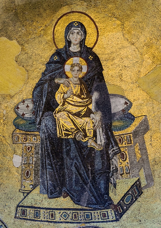 The Virgin and Child ( Theotokos ) mosaic located in the apse of  Hagia Sophia  (Istanbul, Turkey) -  Wikimedia Commons