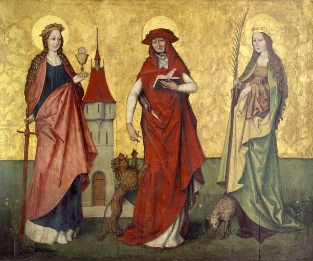Hans Leu der Ältere - Saints Barbara, Jerome and Agnes (ca. 1495)Schweizerisches Nationalmuseum, Zürich ( Wikimedia Commons )