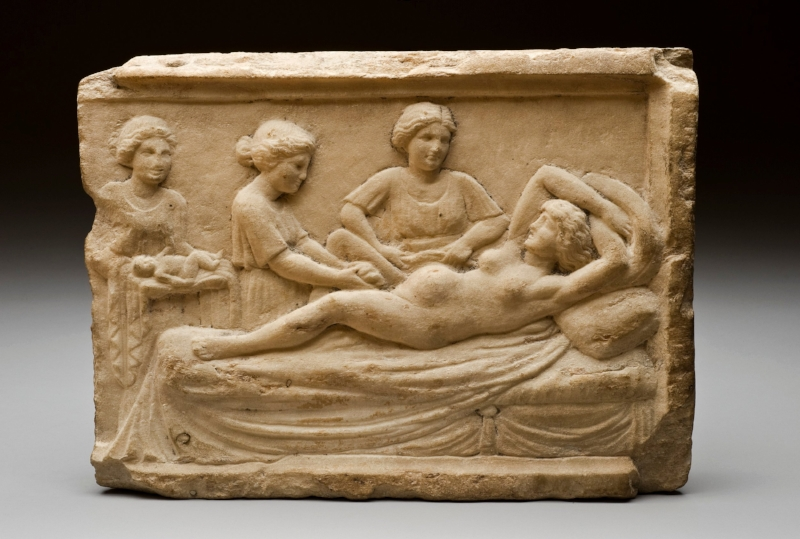 Roman marble plaque showing parturition scene, 400BCE - 300CE (Ostia, Italy) -  UK Science Museum