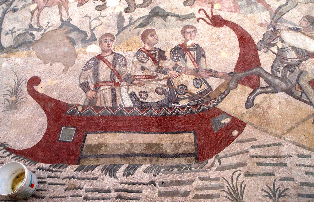 Mosaic section with Red Ship | Piazza Armerina, Sicily |  Image Source