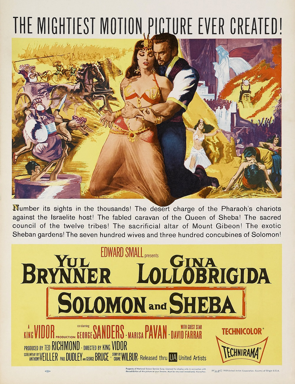 Poster ad for the 1959 film, Solomon and Sheba | Starring Yul Brynner and Gina Lollobrigida, directed by King Vidor |  Image Source