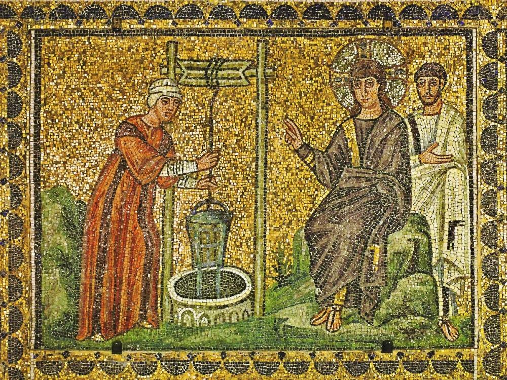 Sixth-century mosaic of Jesus and the Samaritan Woman | Santa Apollinare Nuovo, Ravenna |  Image Source