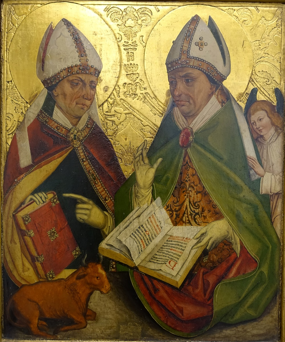 Saint Ambrose and Augustine of Hippo | Altarpiece from Michael Wolgemut, Nuremberg c. 1495-98 |  Image Source