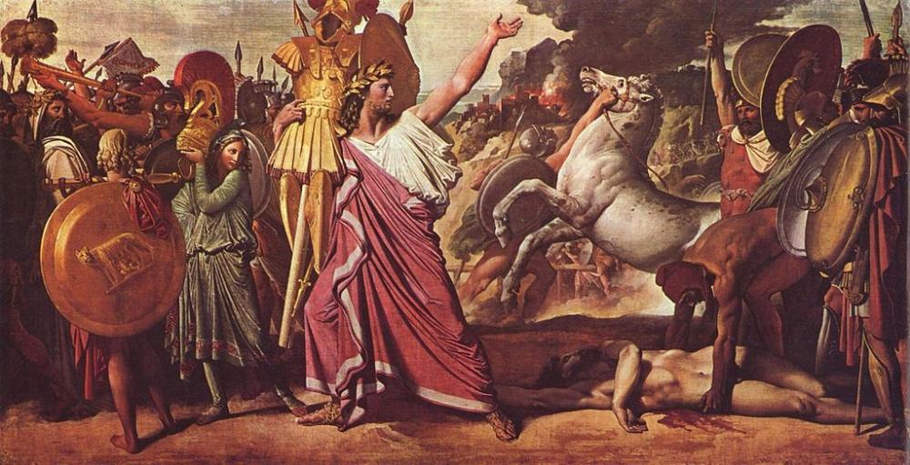 """Jean Auguste Dominique Ingres, """"Romulus, vainqueur d'Acron, porte les dépouilles opimes au temple de Jupiter"""" (1812), ( Wikimedia Commons )"""