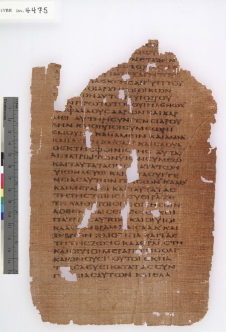 Leaf of a papyrus codex containing Exodus in Greek, P.CtYBR inv. 4475; image courtesy of the Yale Papyrus Collection, Beinecke Rare Book and Manuscript Library, Yale University