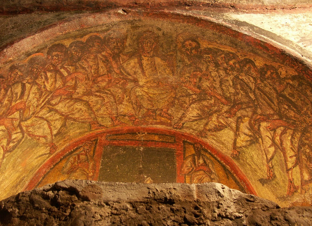 Arsosolio fresco of Christ and the Twelve Apostles | Fourth-century, from the Catacombs of Domitilla, Rome |  Image Source