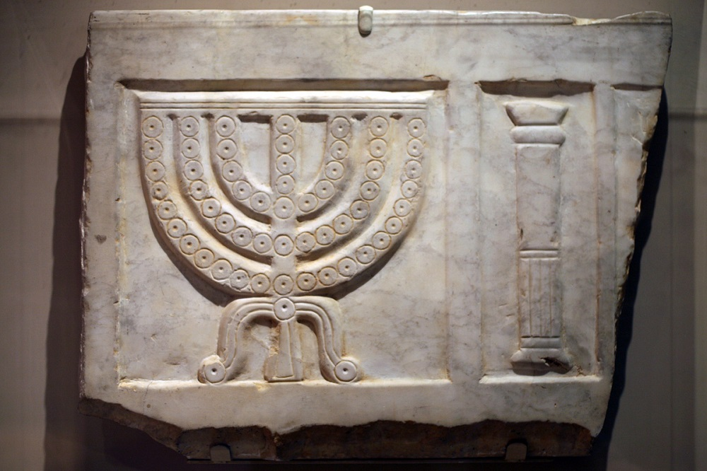 Carved marble sarcophagus section | 3rd-4th century, currently held in the Jewish Museum (New York) |  Image Source