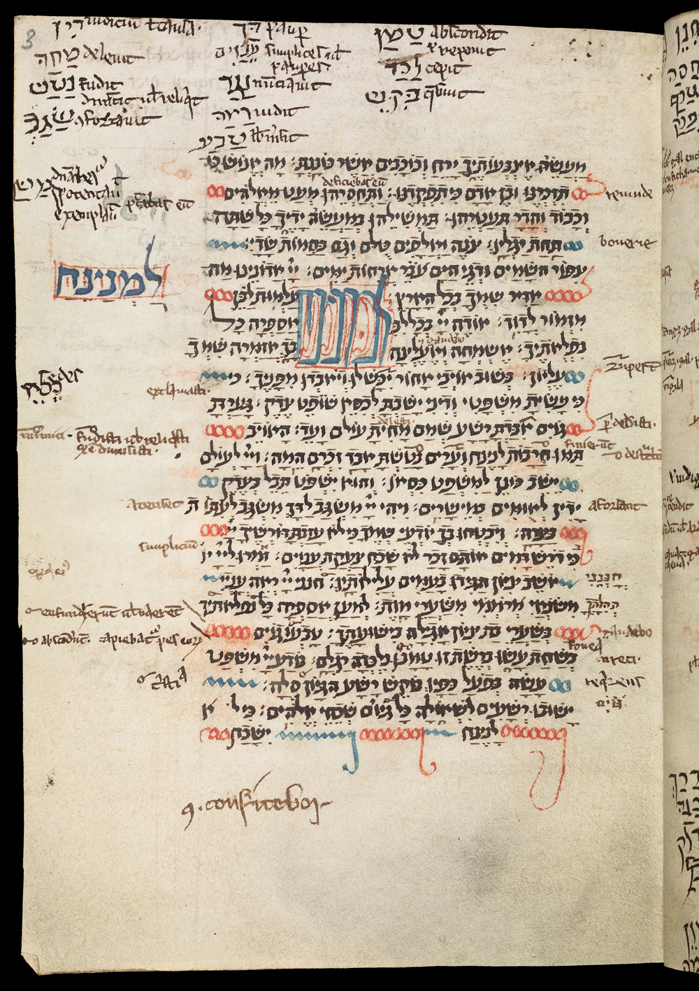 English Hebrew Psalter, open at Ps. 6:7-9:19, with extensive French and Latin annotation | MS. Bodl. Or. 621, f.2b, early thirteenth-century |  Image Source