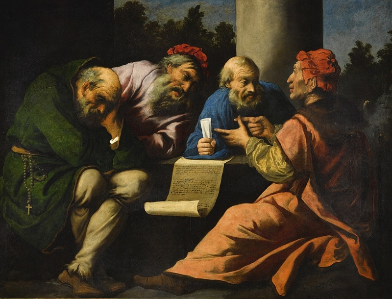 Pietro della Vecchia, A Dispute among (possibly) the Four Doctors of the Church (1654)  Wikimedia Commons