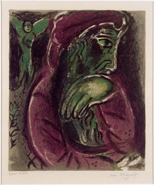 Job in Despair     by Marc Chagall (1960)