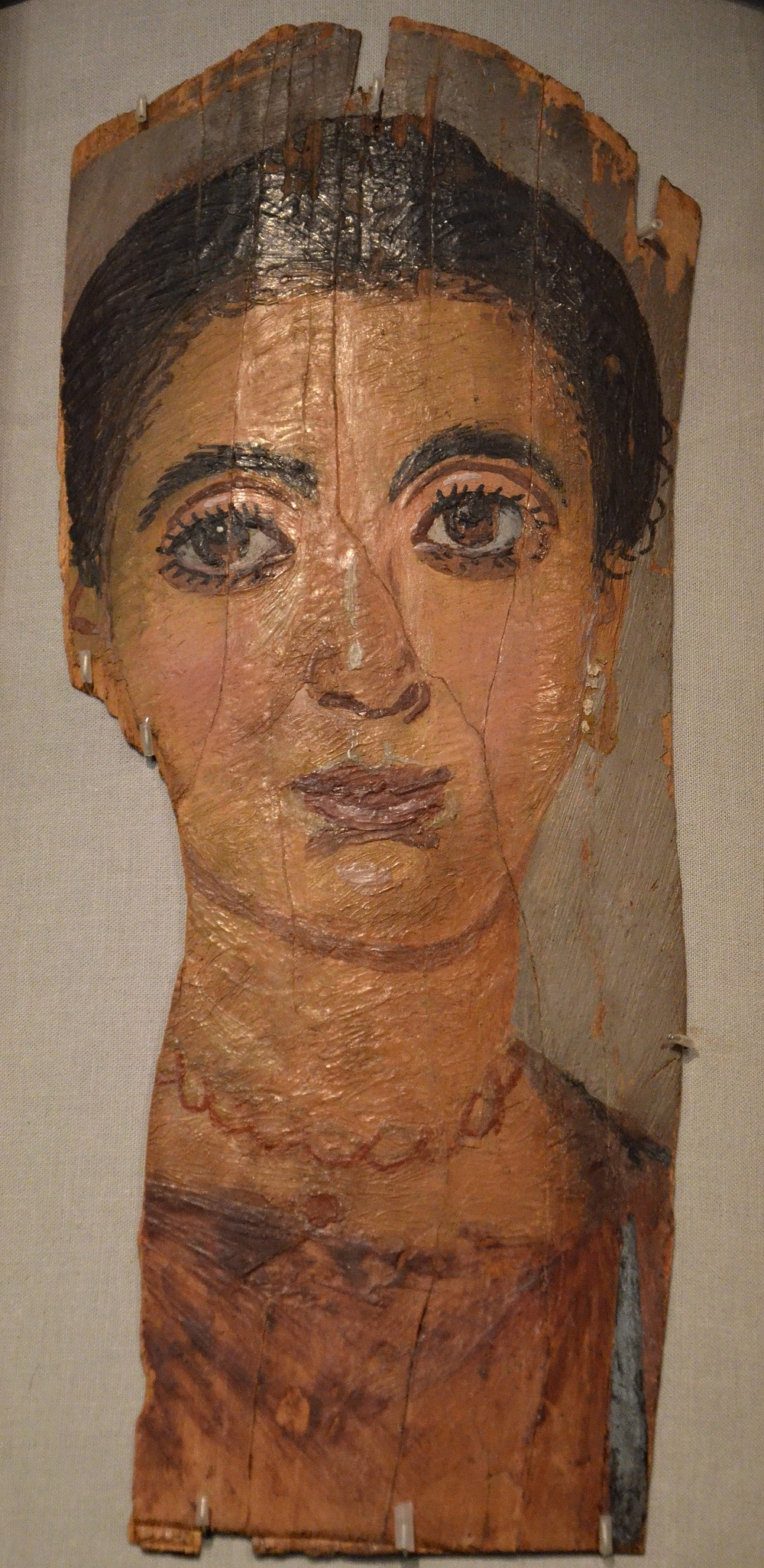 Wax encaustic funerary painting on wood | Second-century Roman Egypt, in the collection of the Badisches Landesmuseum (Karlsruhe) |  Image Source
