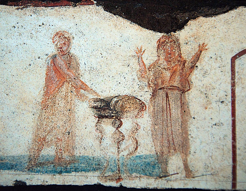 Catacomb painting, possibly of Eucharist bread | Catacomb of San Callisto, third century |  Image source