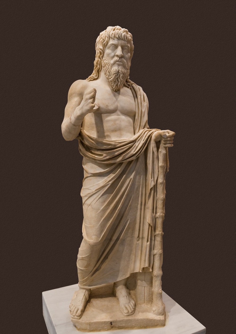 Greco-Roman statue of a philosopher, associated with Apollonius of Tyana | Late second-third century CE, currently at the Heraklion Archaeological Museum |  Image Source
