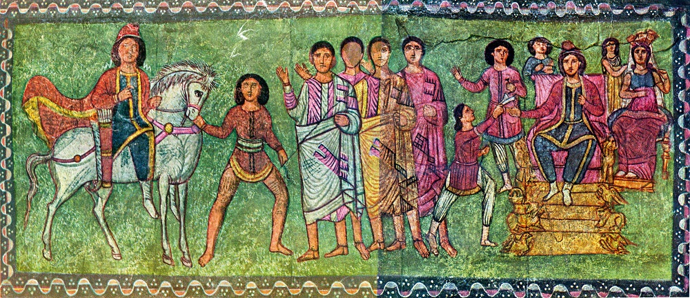 Mordechai and Esther | Painted wood synagogue panel, Dura-Europos (Syria) |  Image Source
