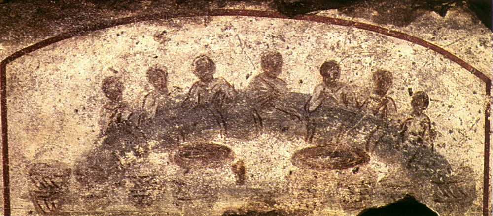 Early Christian catacomb painting | Third-century, Catacomb of Saint Calixte (Rome) |  Image Source