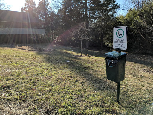 The yard around the club house, now with a pet waste bagging station. Credit: Michael Wagener.