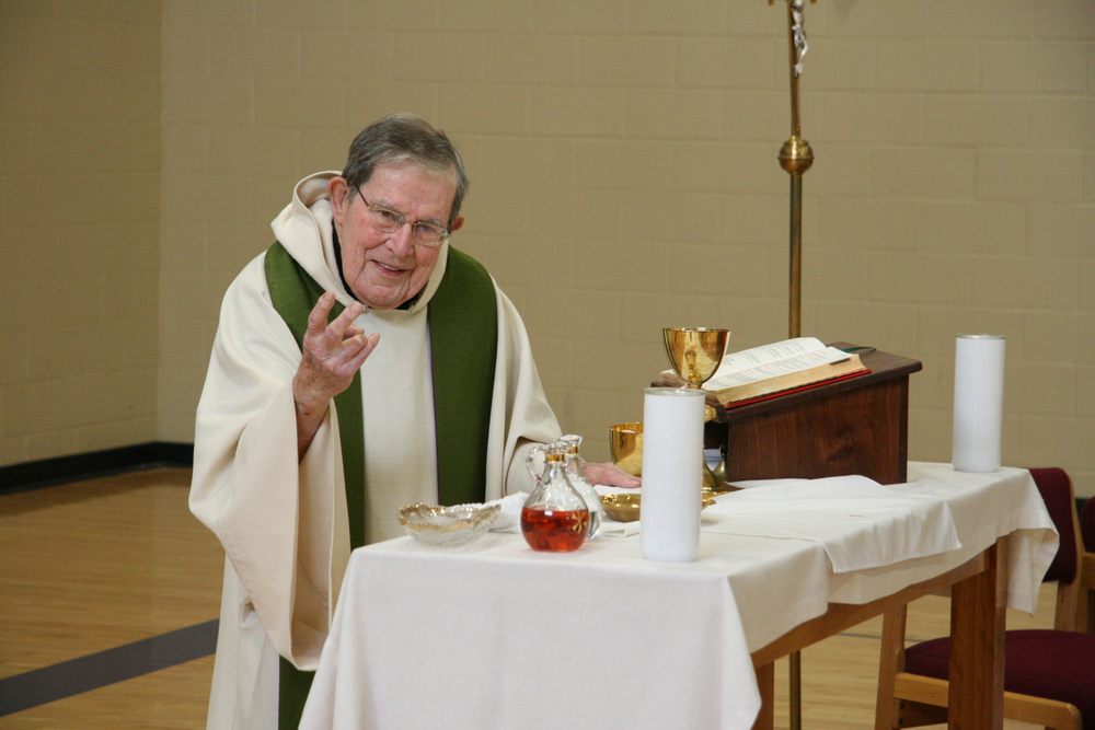 Fr. Bertrand's last Mass at Atchison Catholic Elementary school, where he was co-chaplain from 1998 - 2010.