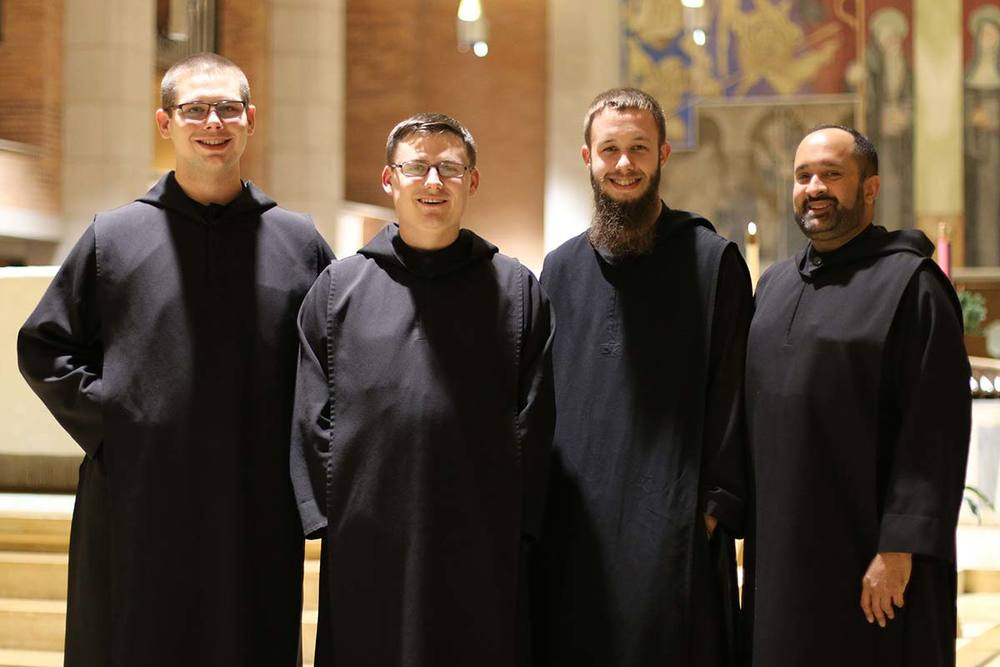 Br. Karel, Br. Placidus, Br. Benedict and Fr. Jay, newly professed monks.