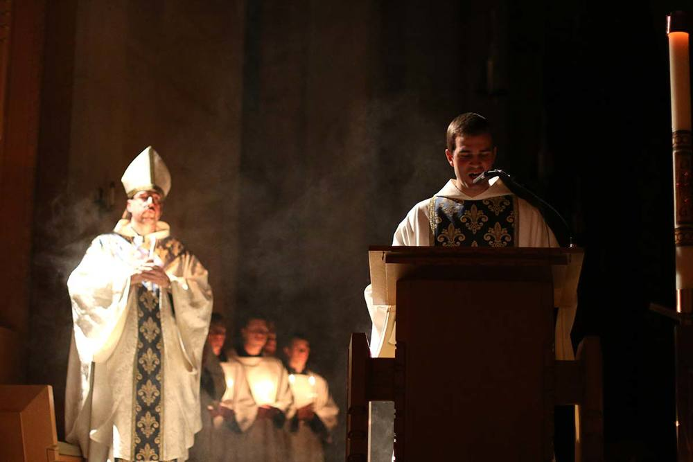 Br. Simon sings the  Exultet  at the Easter Vigil at St. Benedict's Abbey.