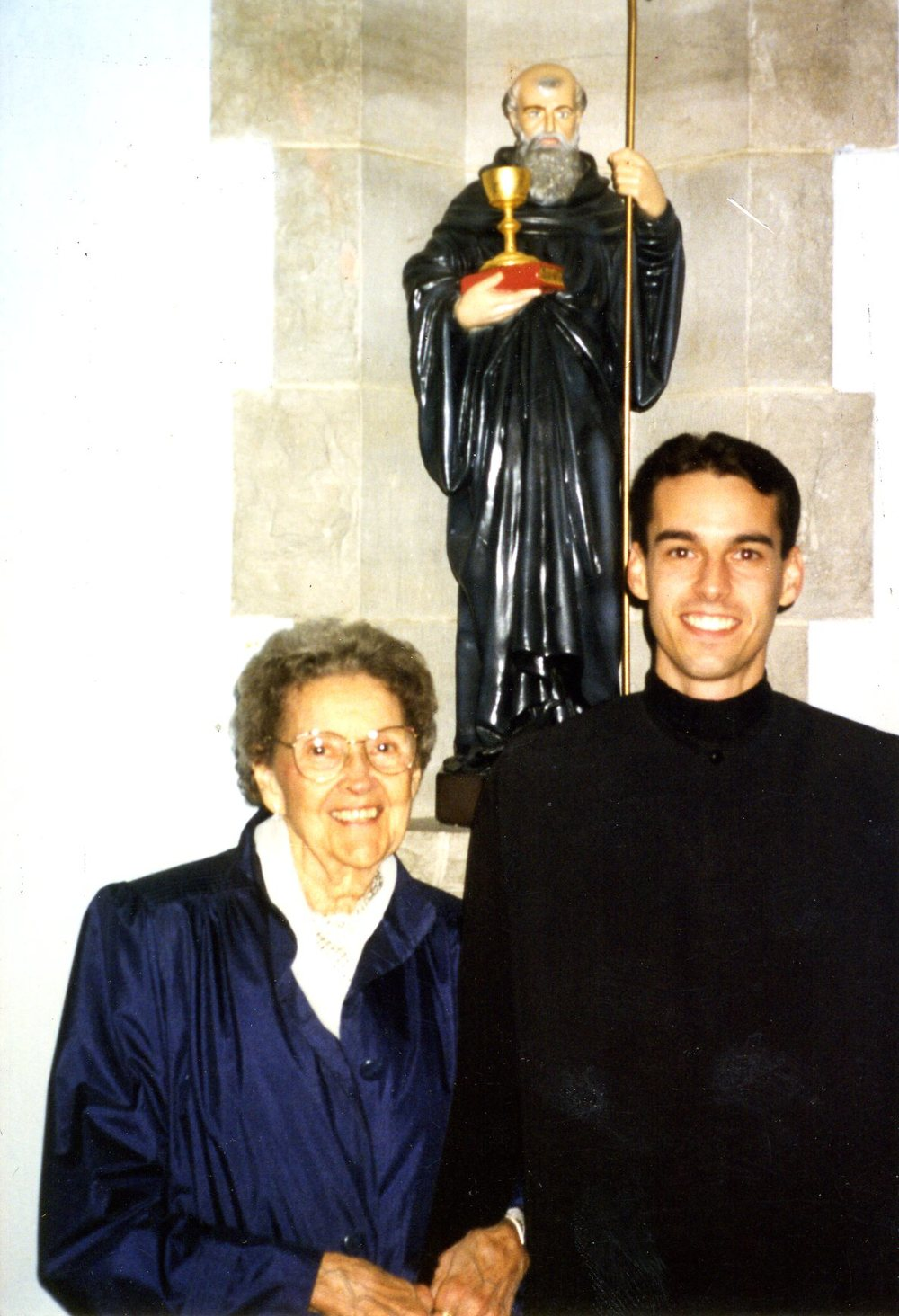 Abbot James entered the novitiate on December 7, 1995.  His family, including his Grandmother Bette Sittenauer (above at left), were on hand to see him receive his habit and  Rule.