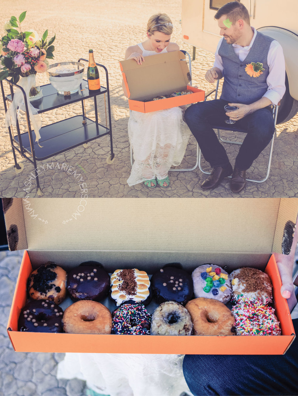 Las Vegas Desert wedding with Flora Pop Dry Lake Bed Wedding, Las Vegas downtown O Face Donuts