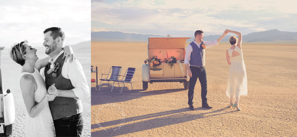 Las Vegas Desert wedding with Flora Pop Dry Lake Bed Wedding,