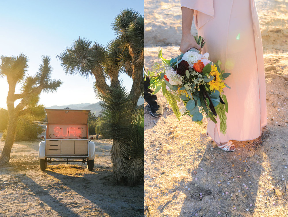 Joshua Tree Elopement, Joshua Tree Wedding, Joshua Tree, CA, Pink Wedding Dress, sunrise wedding, sunrise elopement, Flora Pop Elopement